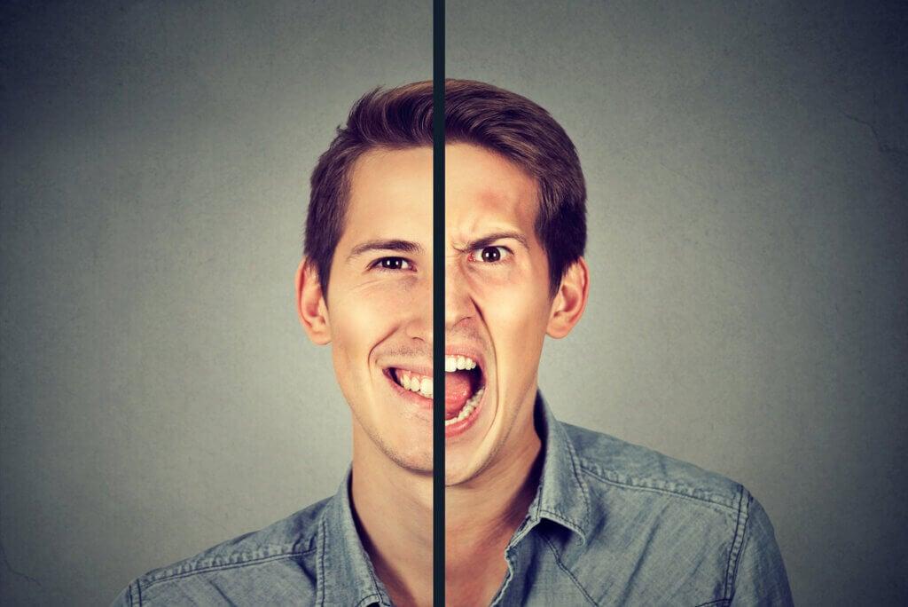 Rostro de persona bipolar.