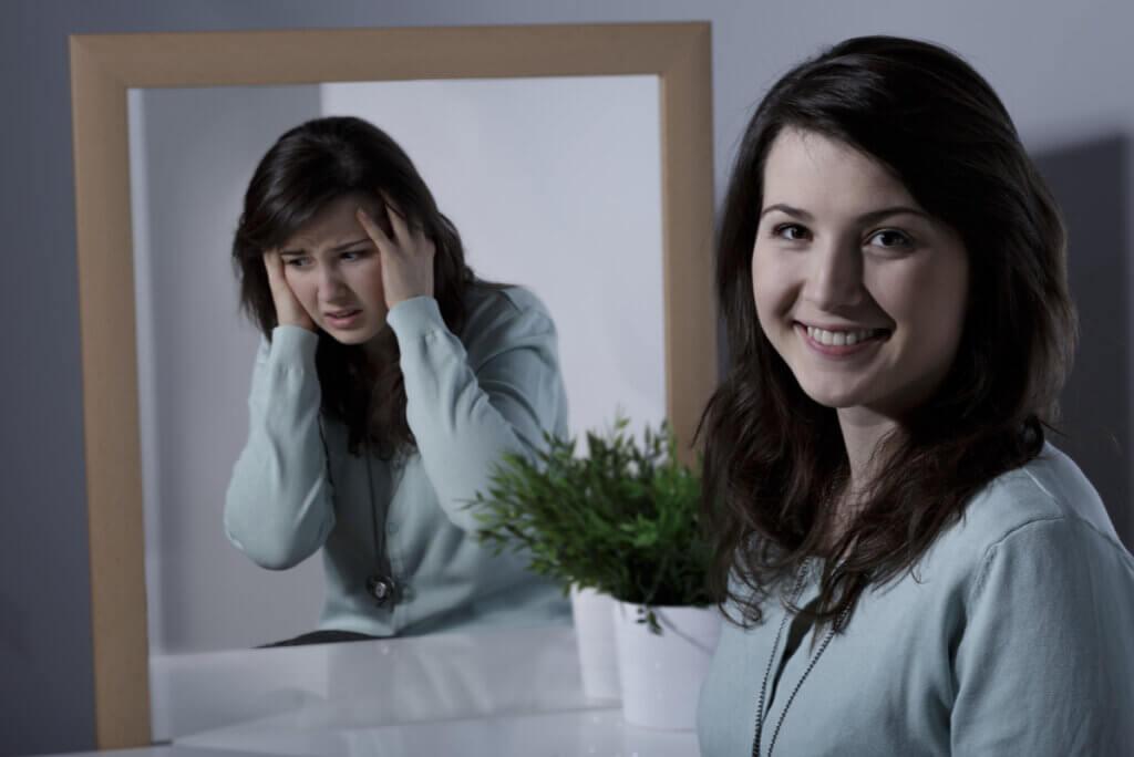 Mujer con trastorno bipolar.