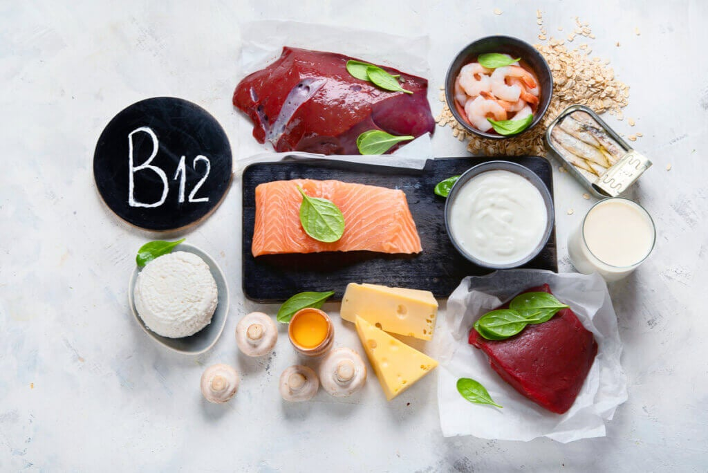 Foods with vitamin B12.