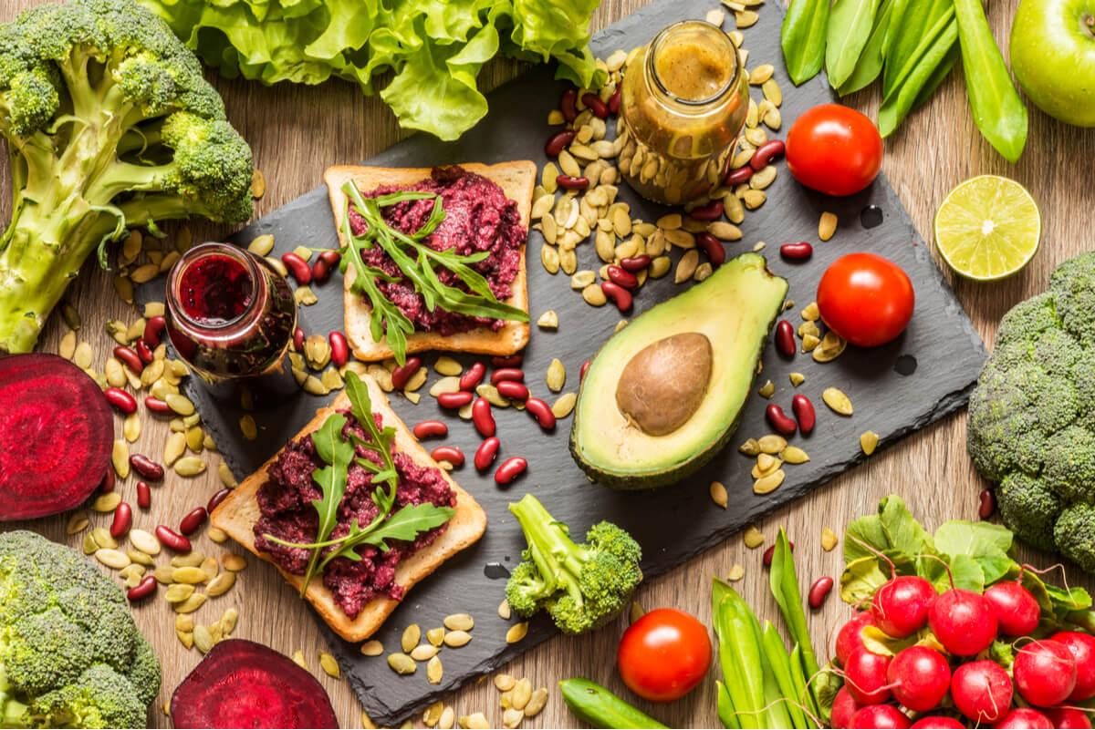 Alimentos de dieta vegana.