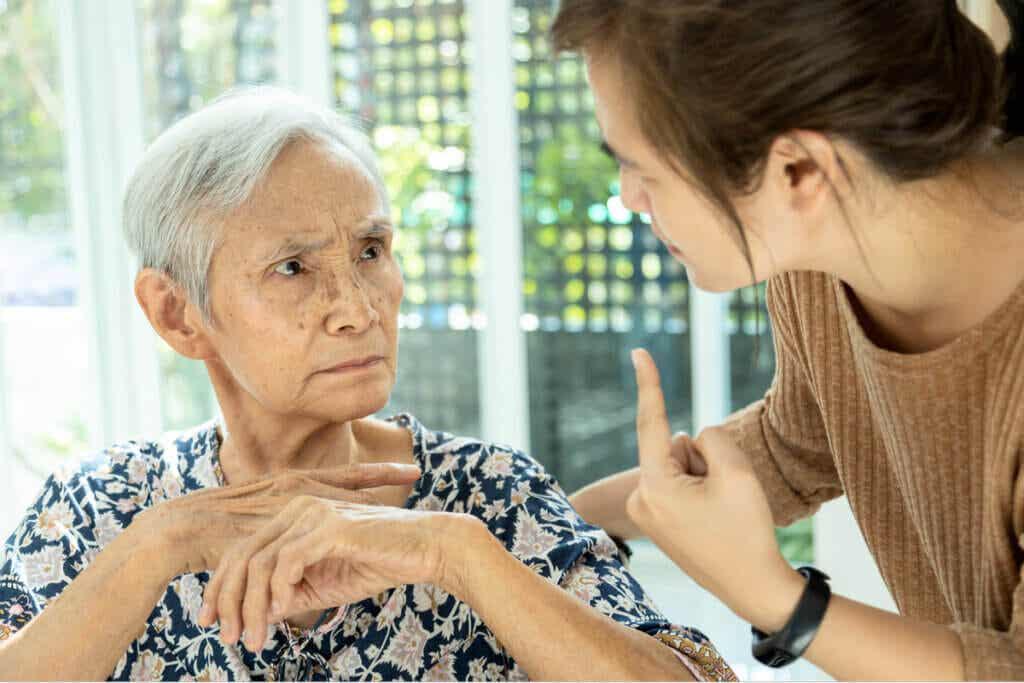 Demencia en una anciana.