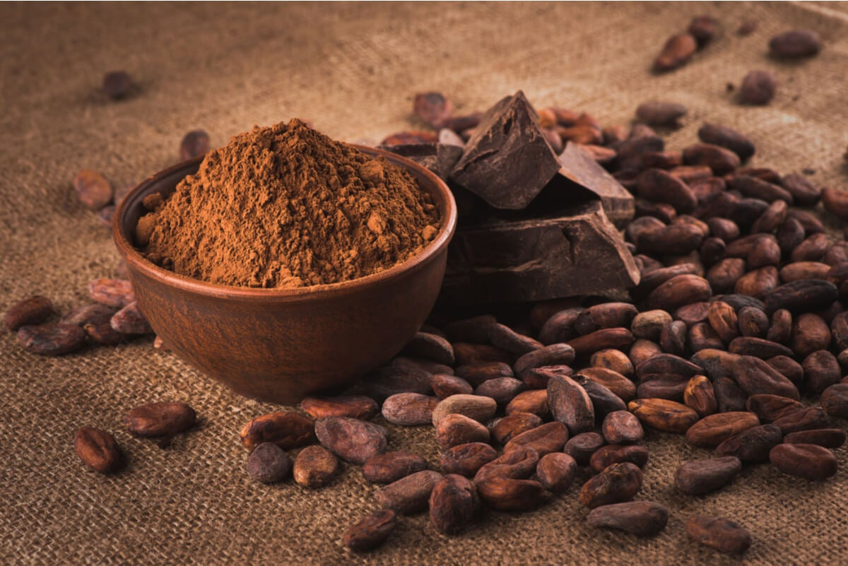 El cacao es rico en potasio y triptófano