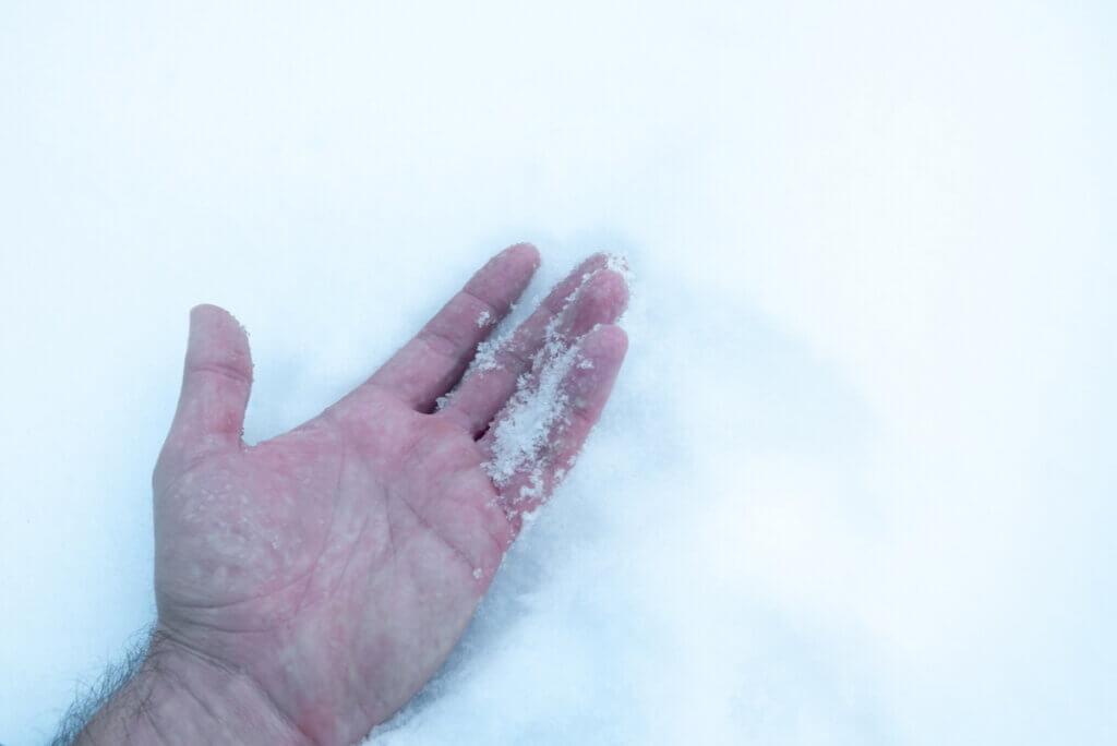 Mano con hipotermia en la nieve.