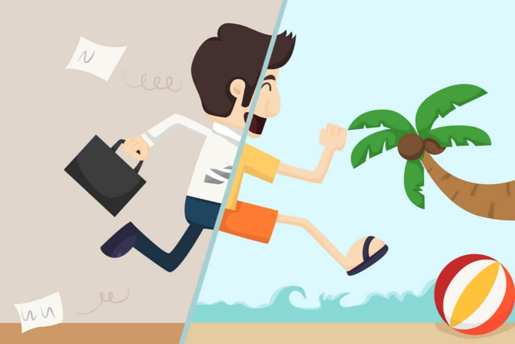 Concepto de vacaciones del trabajo y la importancia de descansar.