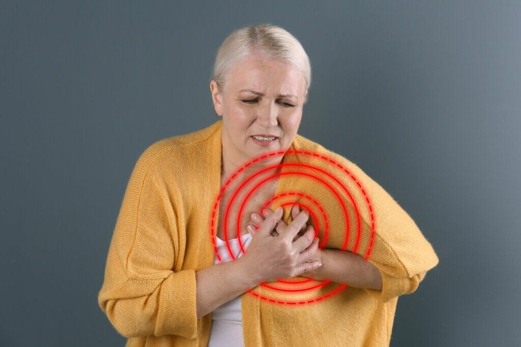 Mujer menopáusica con dolor de pecho.