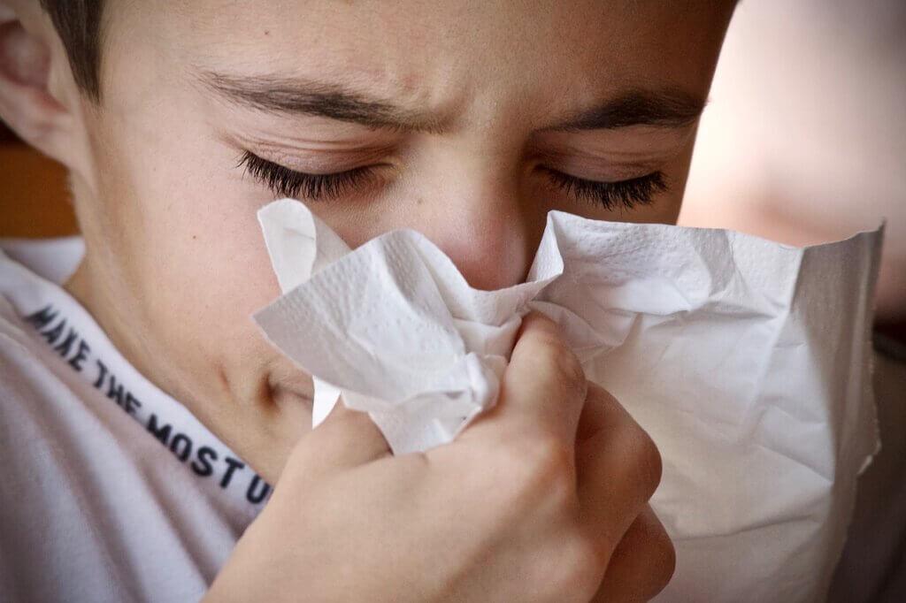 Resfrío en un niño.