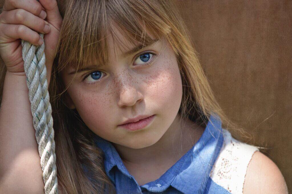 Freckles em uma garota.